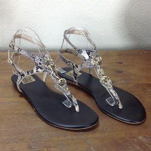 Dolce Vita Snakeskin Embossed Leather Thong Sandal